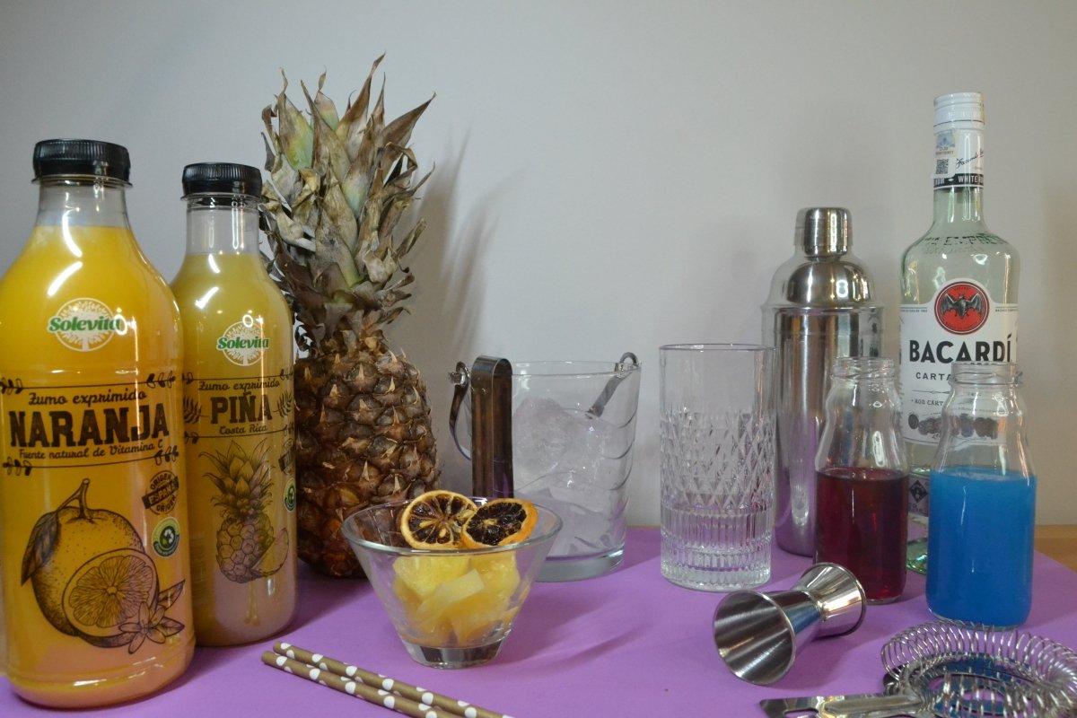 Ingredientes para el cóctel Purple Sky
