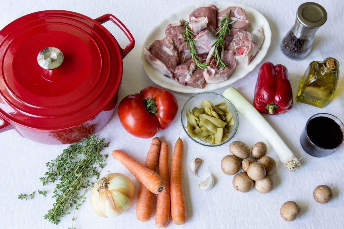 Ingredientes para el estofado de cordero