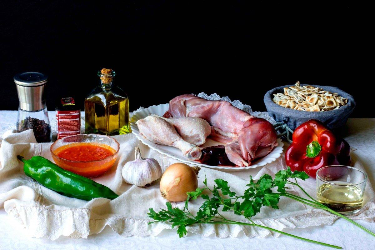 Ingredientes para el gazpacho manchego