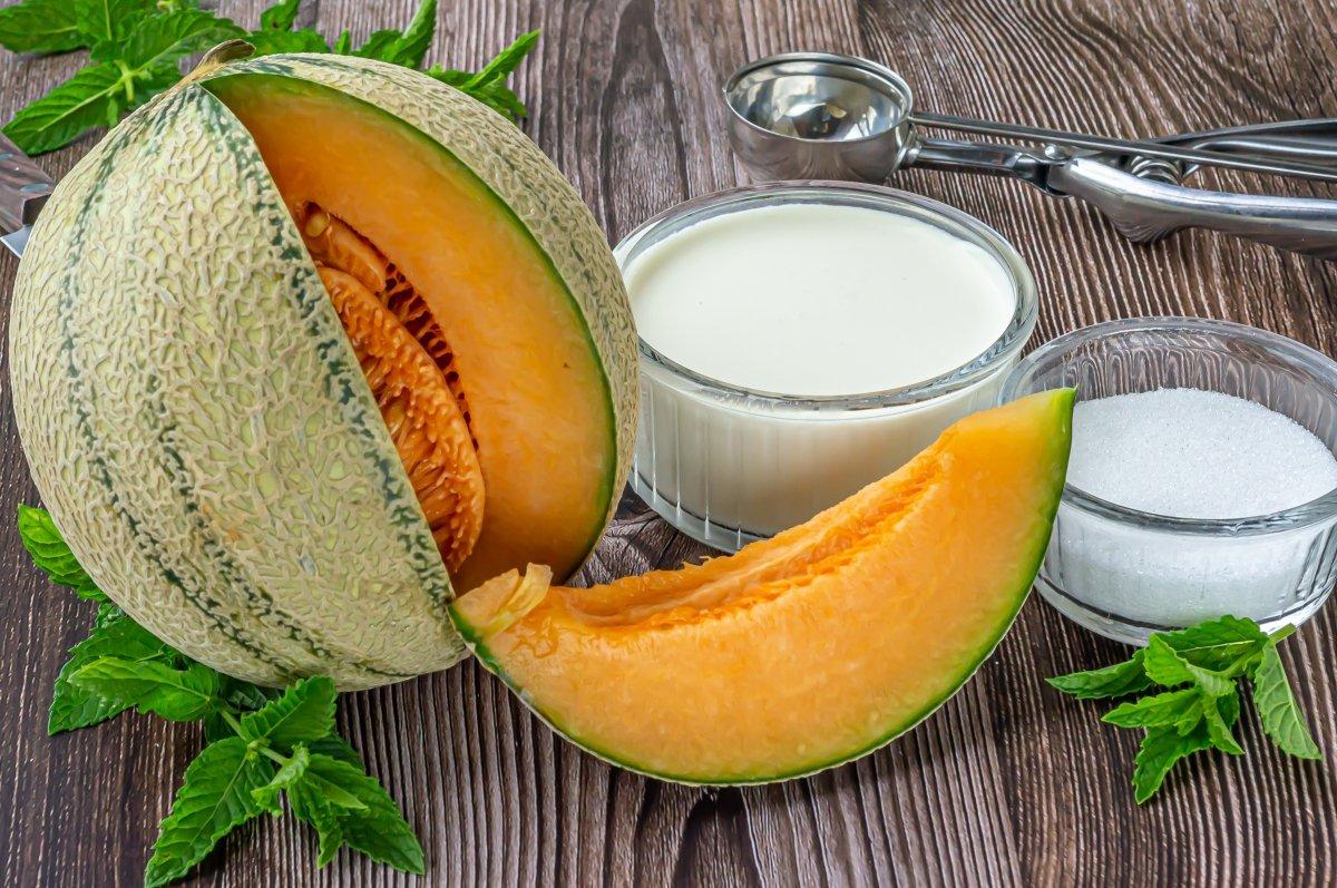 Ingredientes para el helado de melón