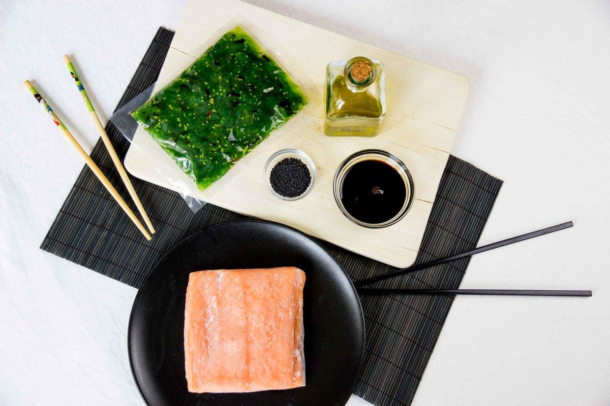 Ingredientes para el tataki de salmón