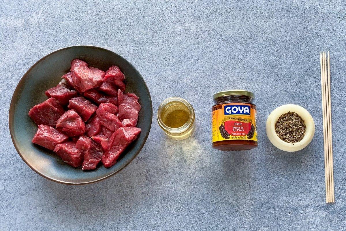 Ingredientes para elaborar anticucho
