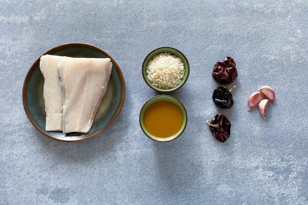 Ingredientes para elaborar arroz caldero