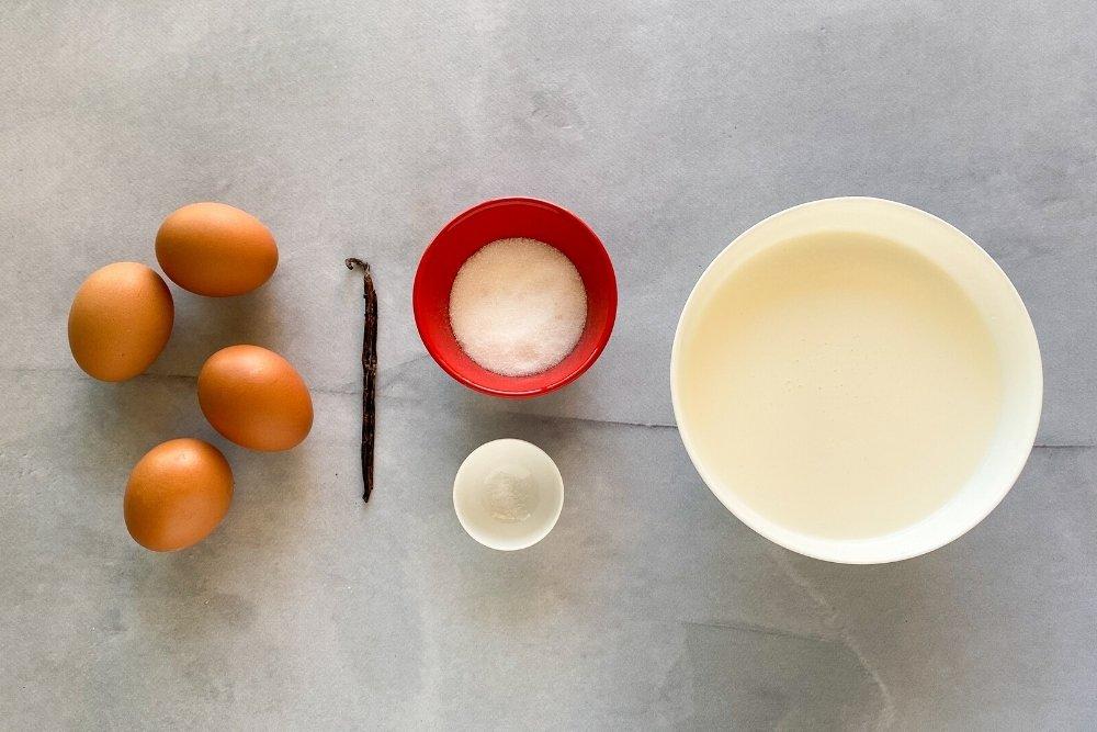 Ingredientes para elaborar creme brulée