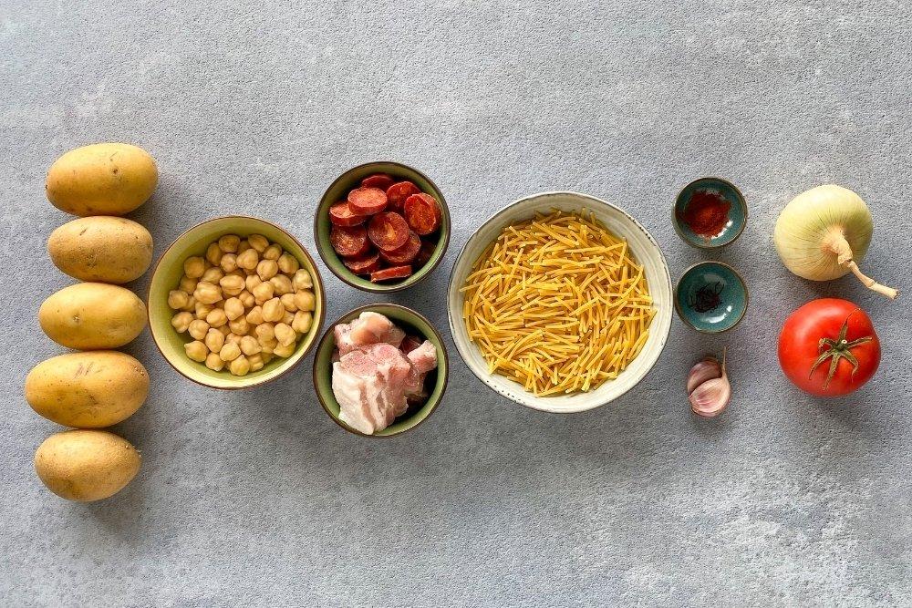Ingredientes para elaborar el rancho canario
