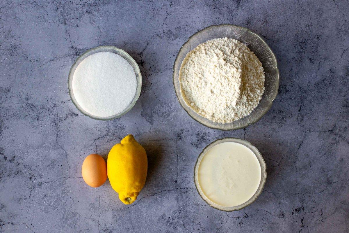Ingredientes para elaborar las galletas de nata