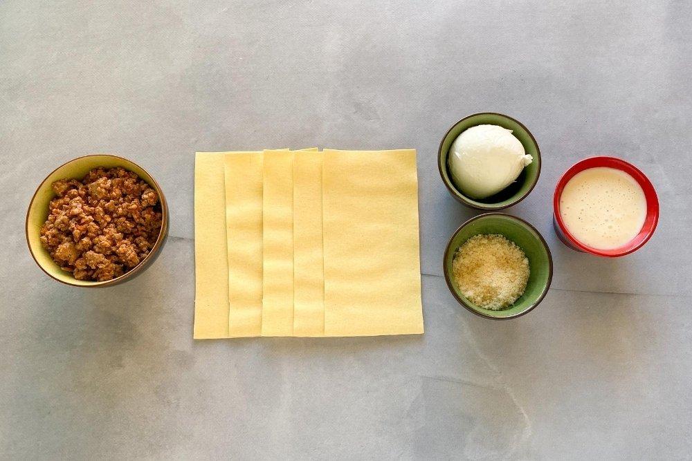 Ingredientes para elaborar lasaña de carne a la boloñesa