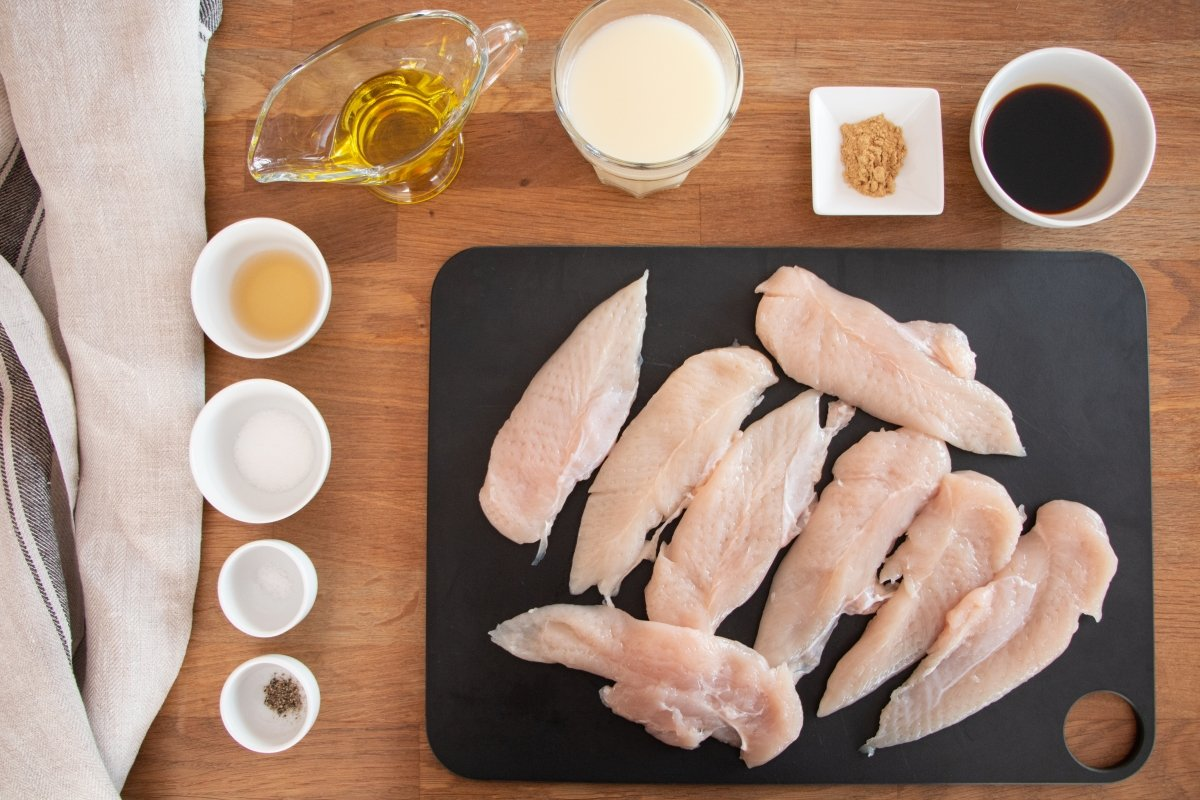 Ingredientes para elaborar pollo con jengibre