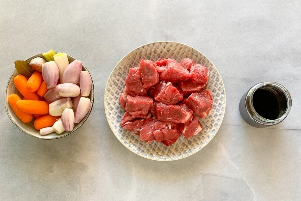 Ingredientes para elaborar ragú o ragout de ternera