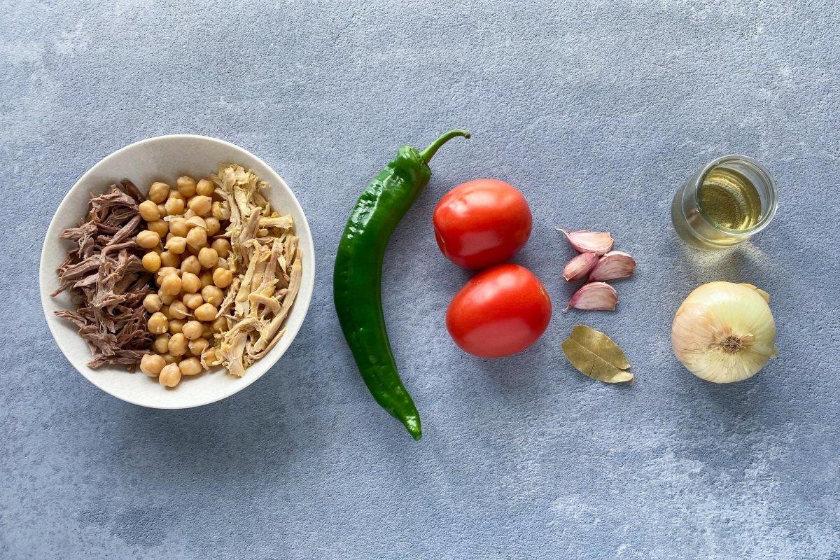 Ingredientes para elaborar ropa vieja canaria