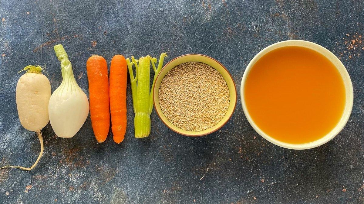 Ingredientes para elaborar sopa de quinoa