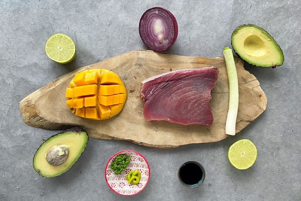 Ingredientes para elaborar tartar de atún