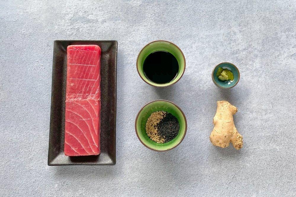 Ingredientes para elaborar tataki de atún