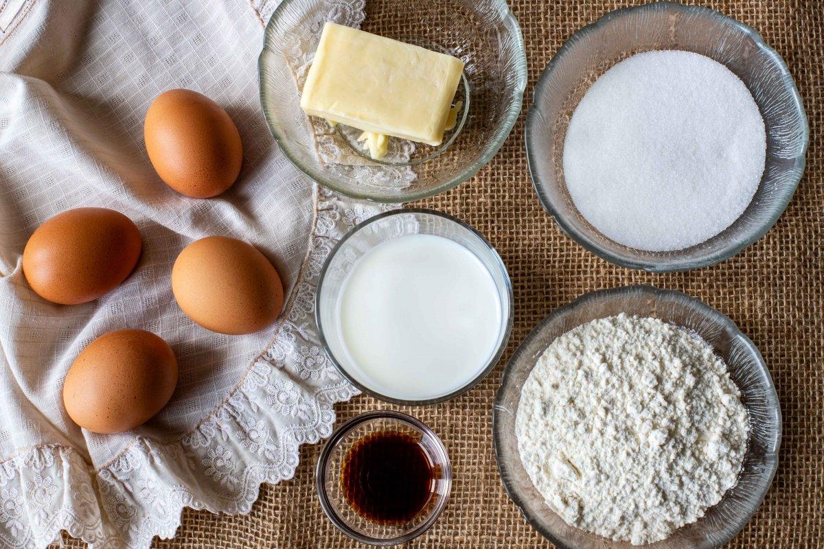 Ingredientes para hacer el bizcocho japonés