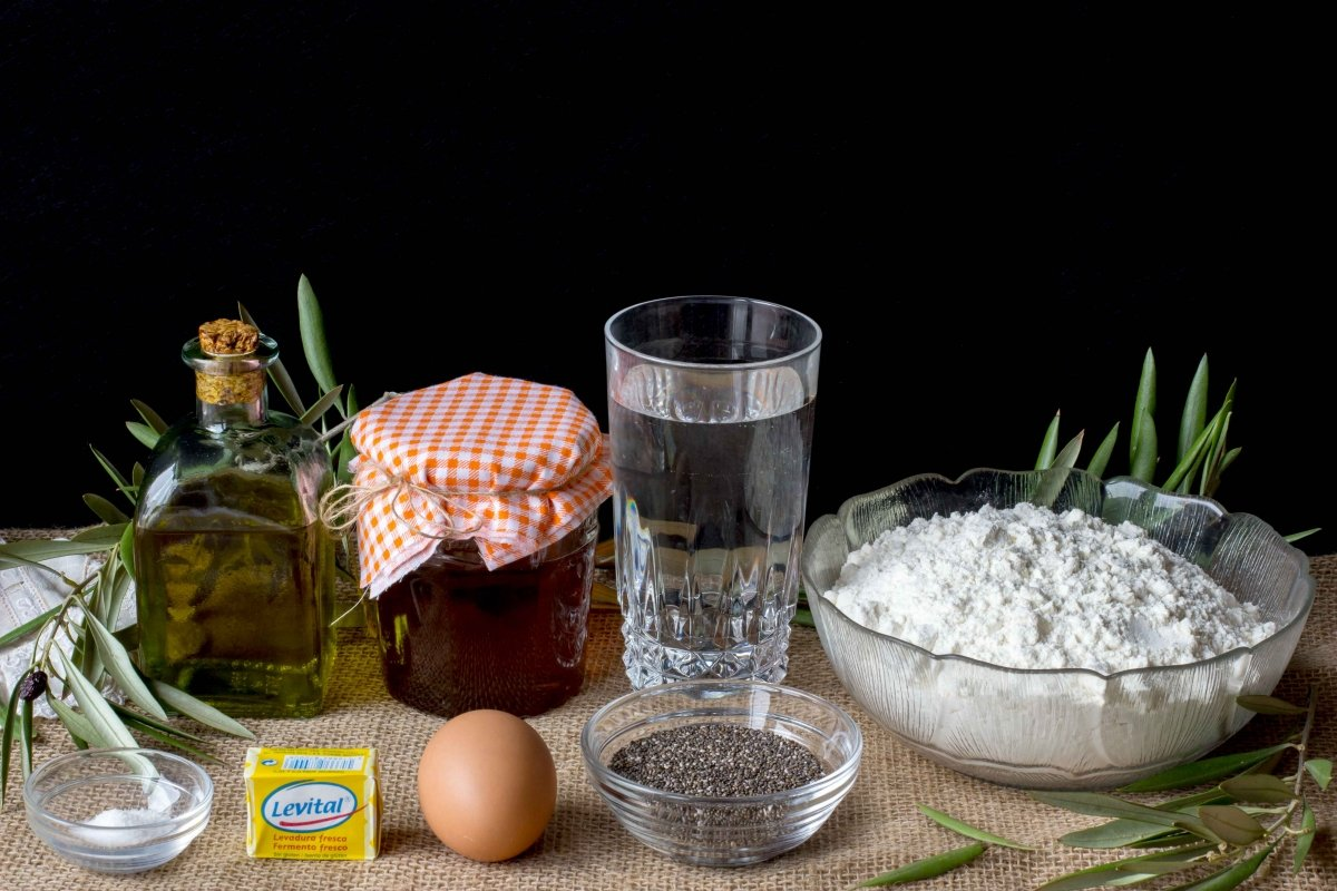 Ingredientes para hacer el pan Challah