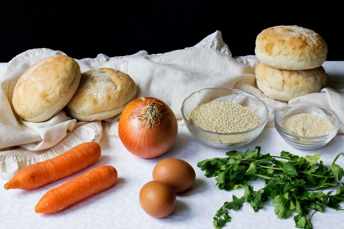 Ingredientes para hacer la hamburguesa de quinoa y verduras