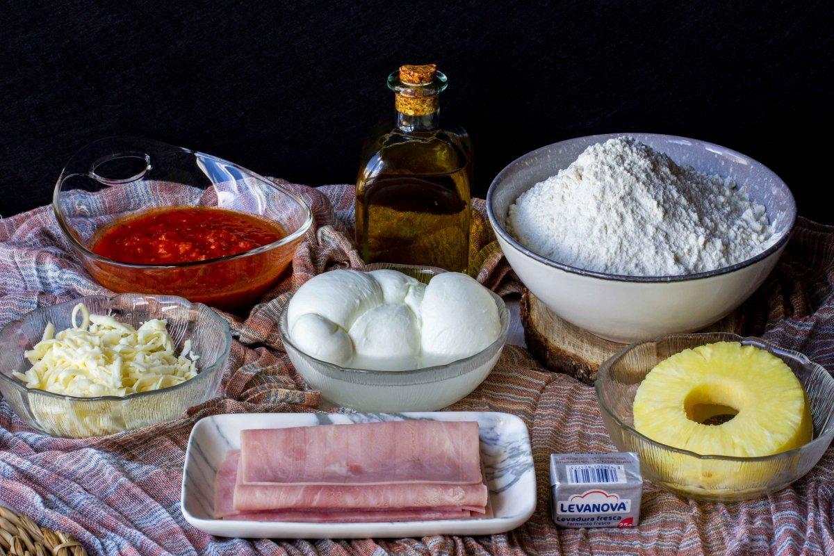 Ingredientes para hacer la pizza hawaiana