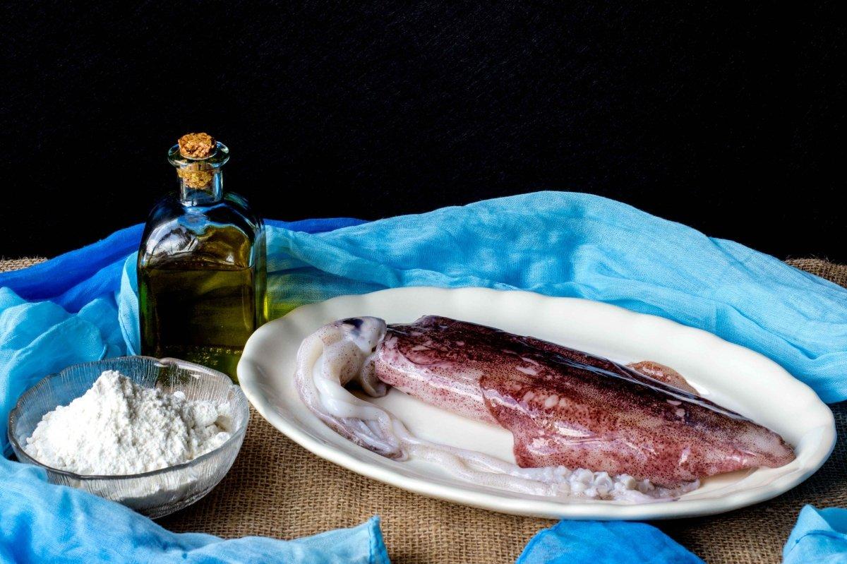 Ingredientes para hacer las rabas de calamar