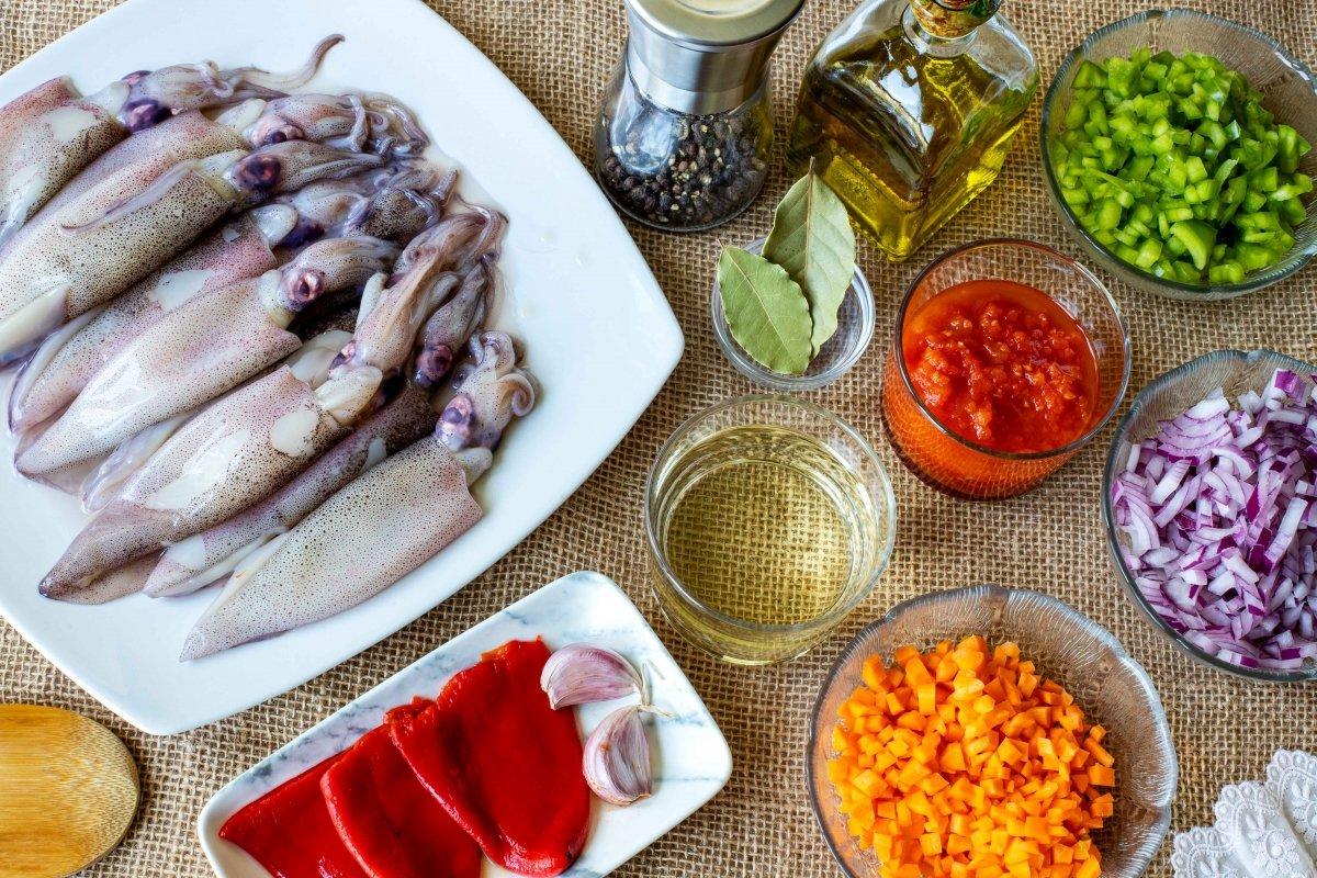 Ingredientes para hacer los calamares rellenos