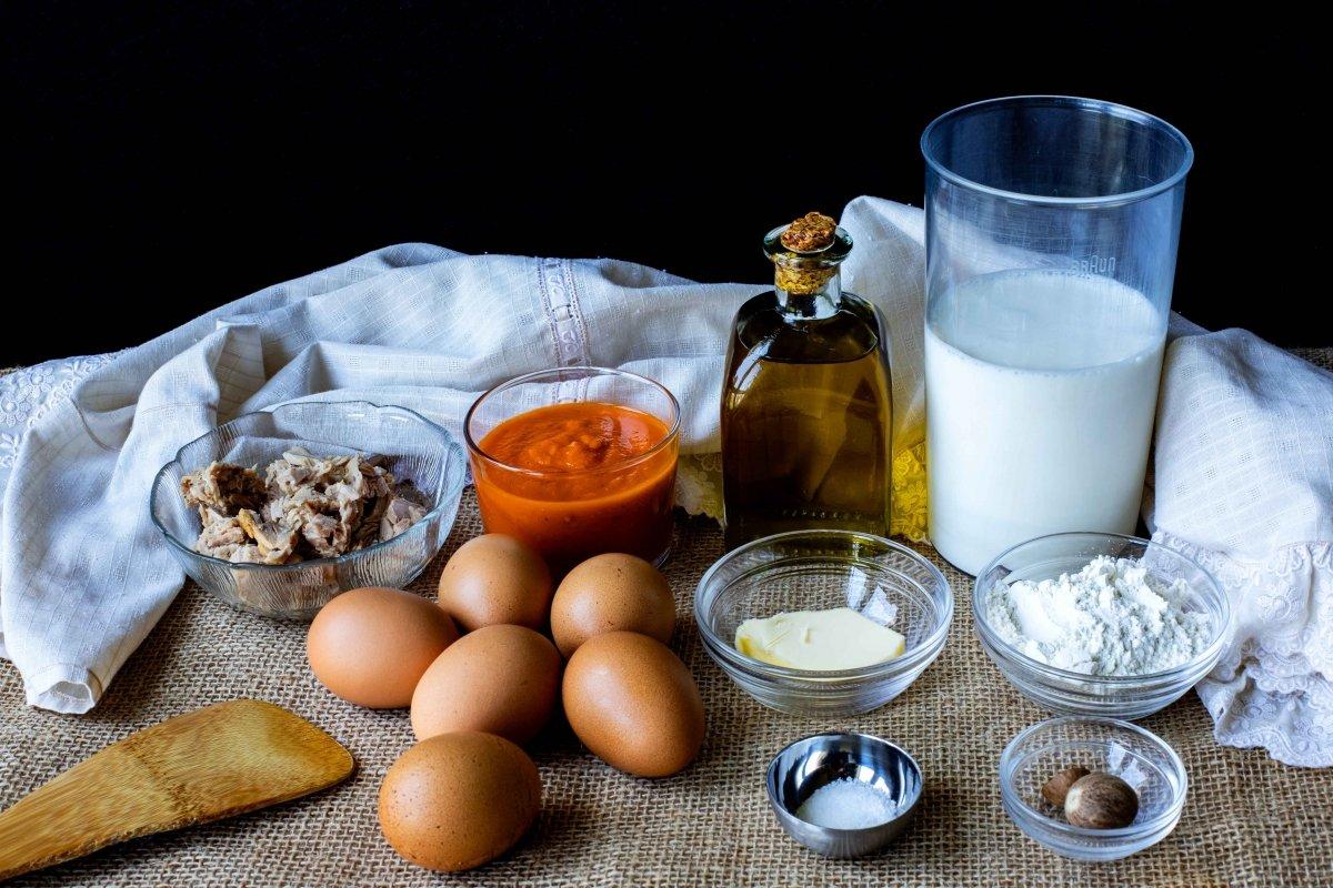 Ingredientes para hacer los huevos con bechamel