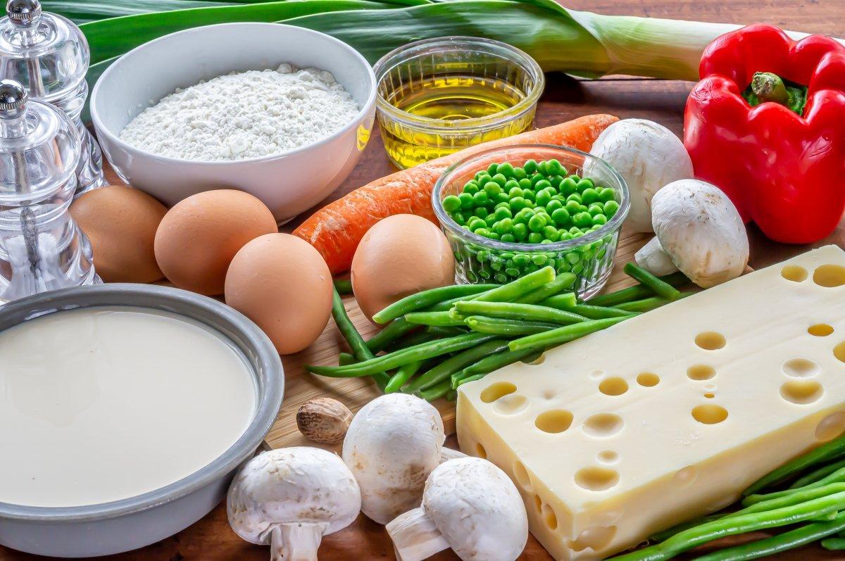 Ingredientes para hacer quiche de verduras y queso