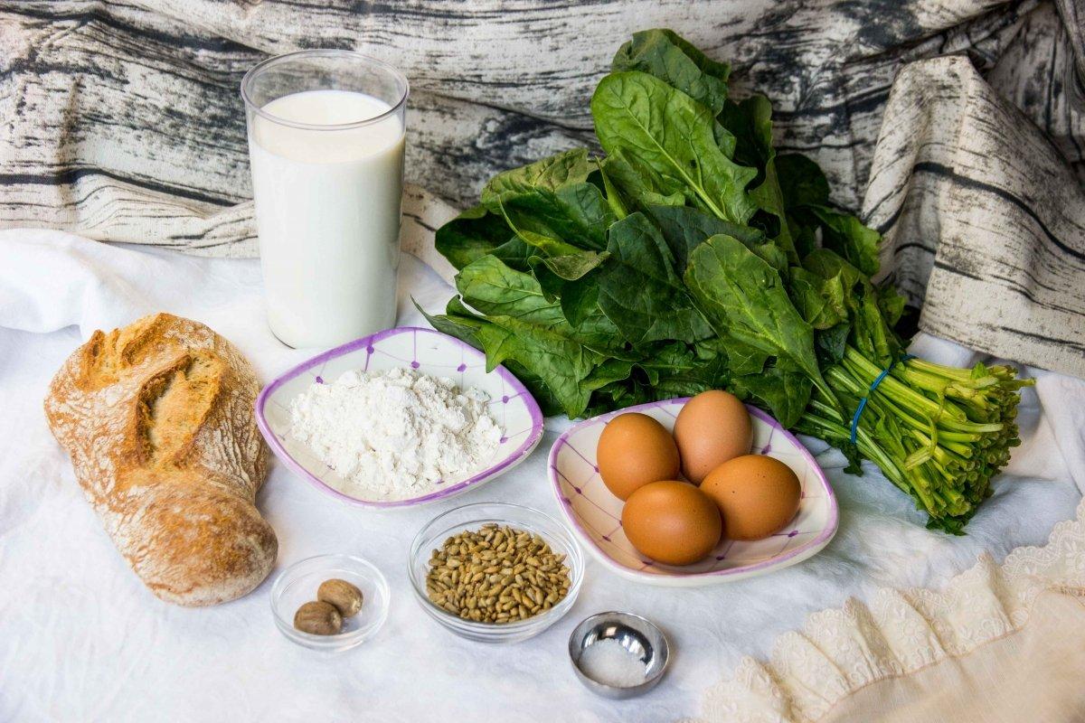 Ingredientes para la crema de espinacas con huevo escalfado