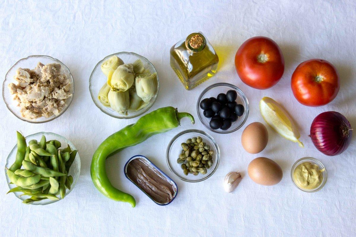 Ingredientes para la ensalada nicoise
