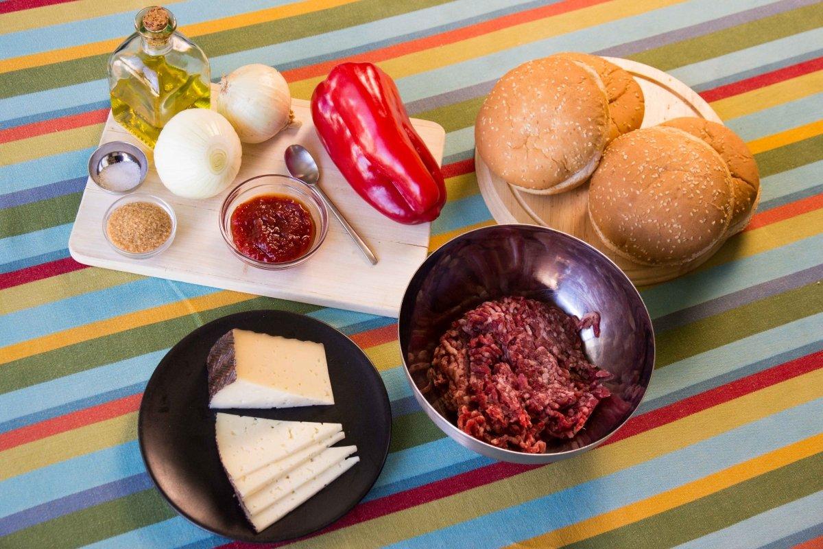 Ingredientes para la hamburguesa casera de Ternera de Ávila