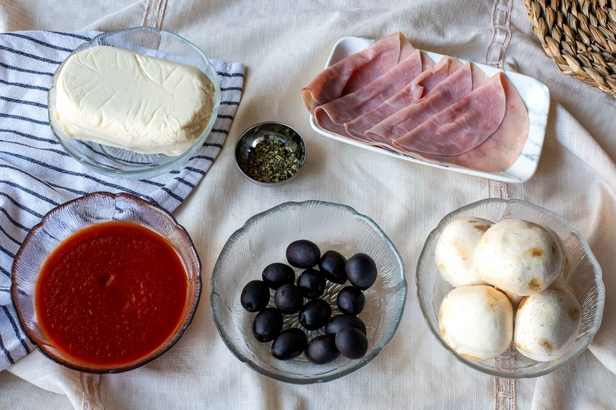 Ingredientes para la pizza romana