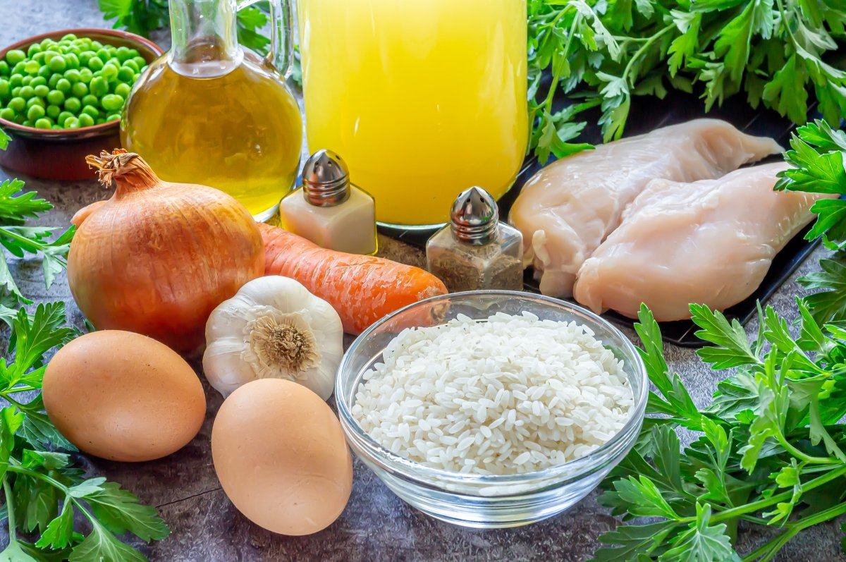 Ingredientes para la sopa de arroz