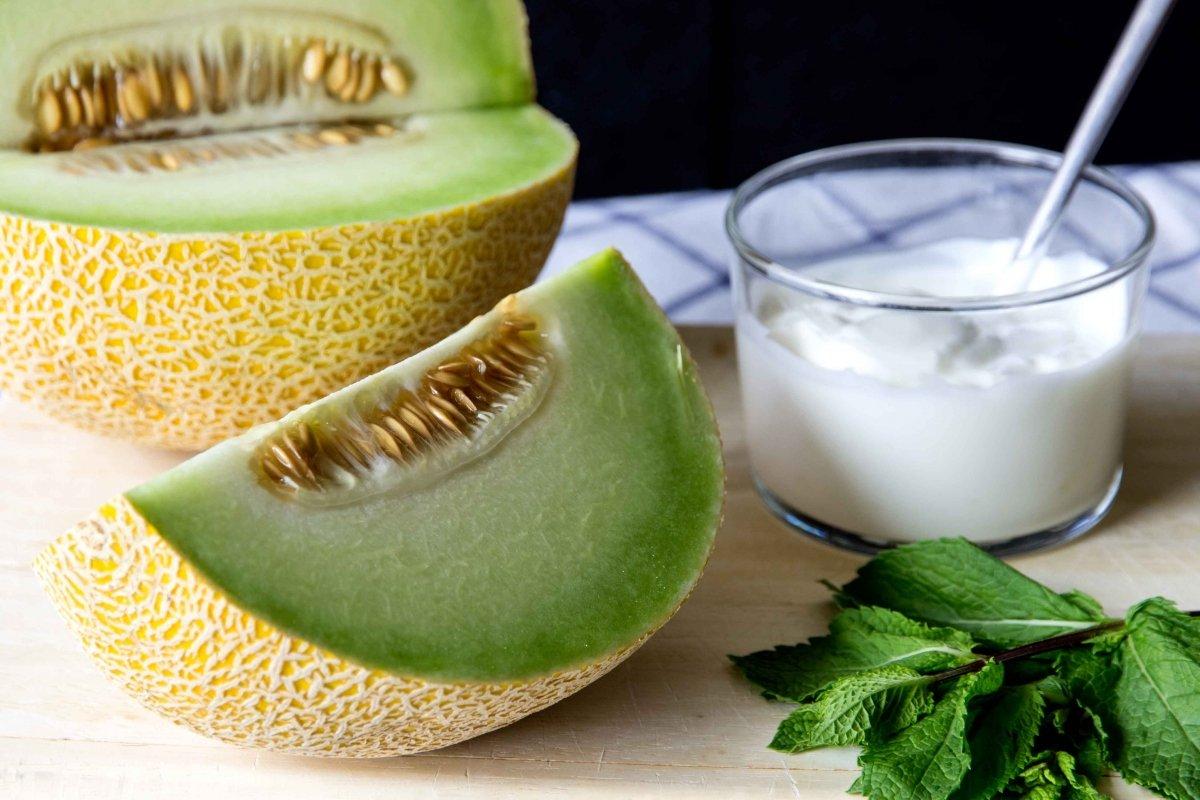 Ingredientes para la sopa fría de melón y menta