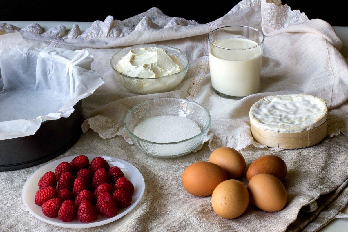 Ingredientes para la tarta de queso con frambuesas