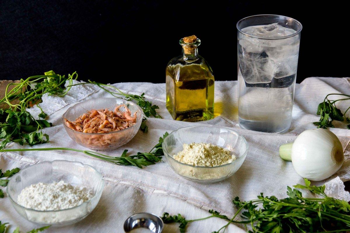 Ingredientes para las tortillitas de camarones