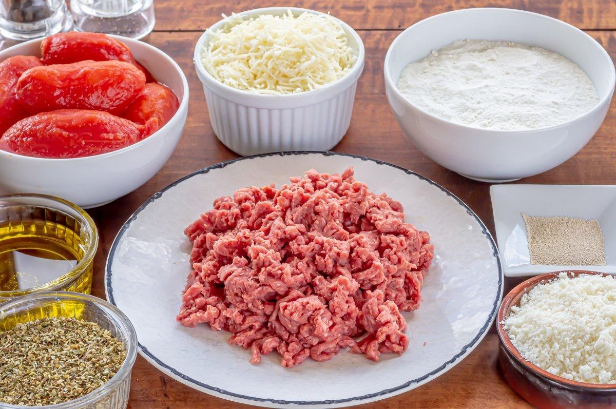 Ingredientes para pizza de carne picada