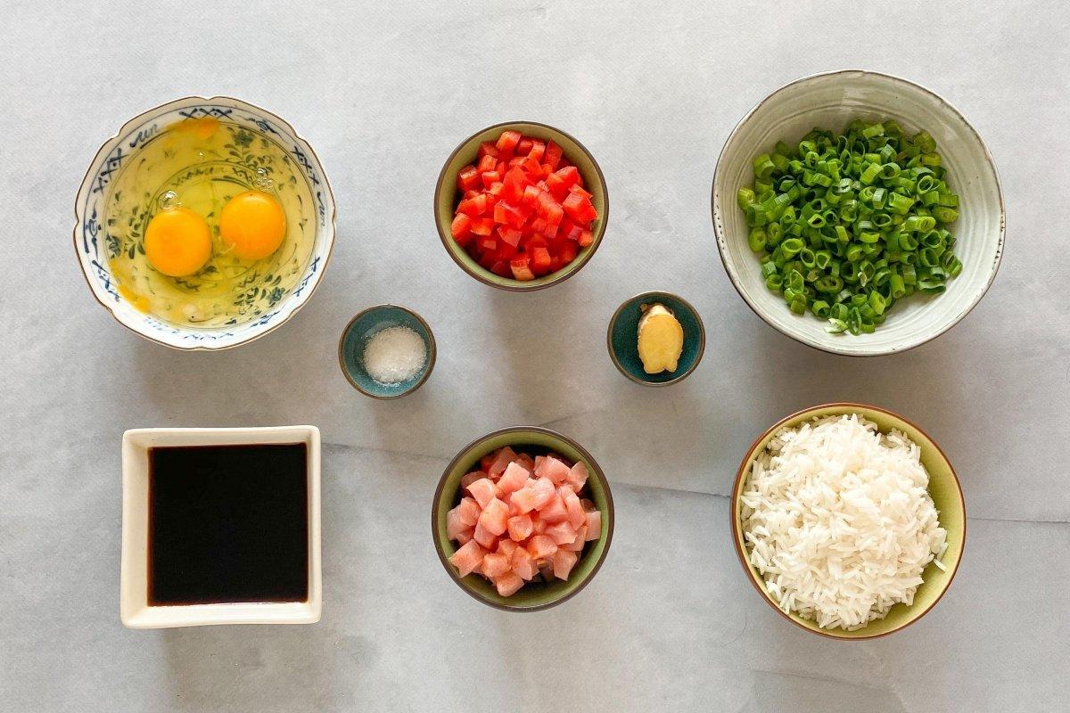 Ingredientes para preparar arroz chaufa