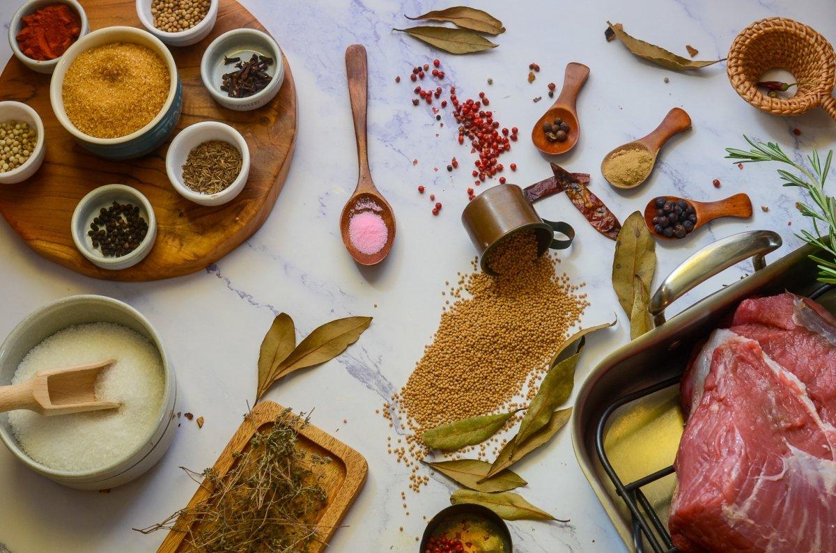 Ingredientes para preparar el pastrami