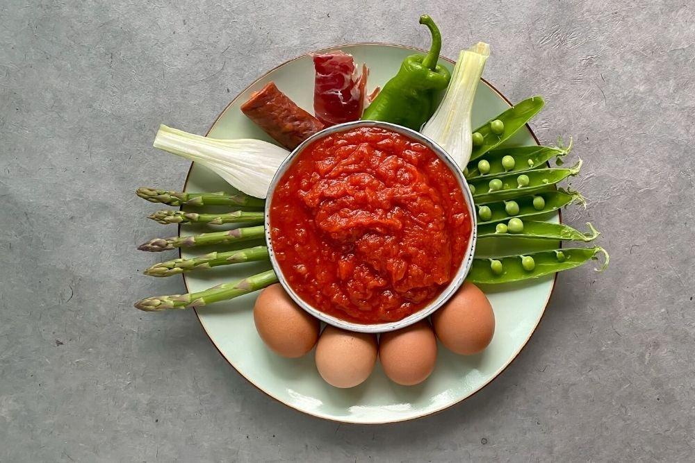 Ingredientes para preparar huevos a la flamenca