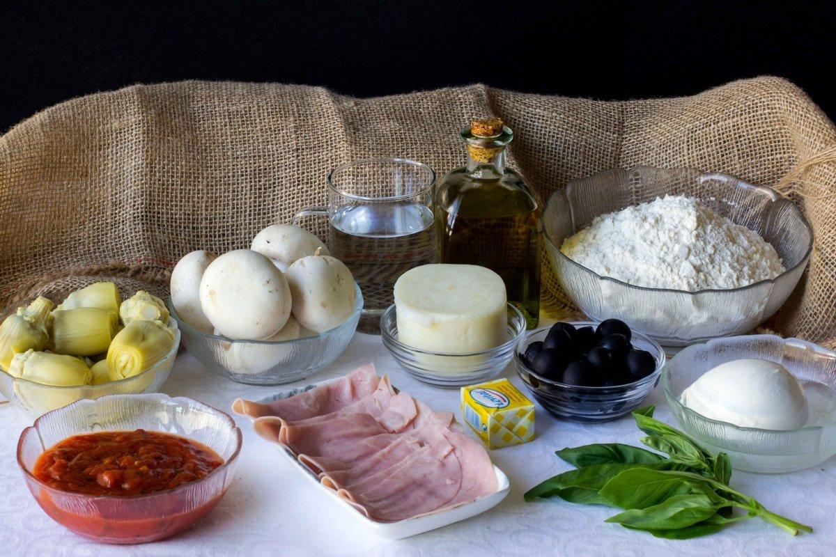 Ingredientes para preparar la pizza cuatro estaciones