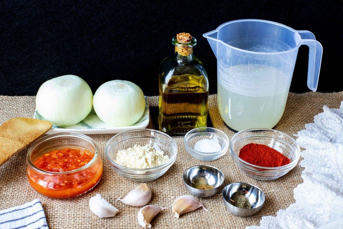Ingredientes para preparar la salsa brava