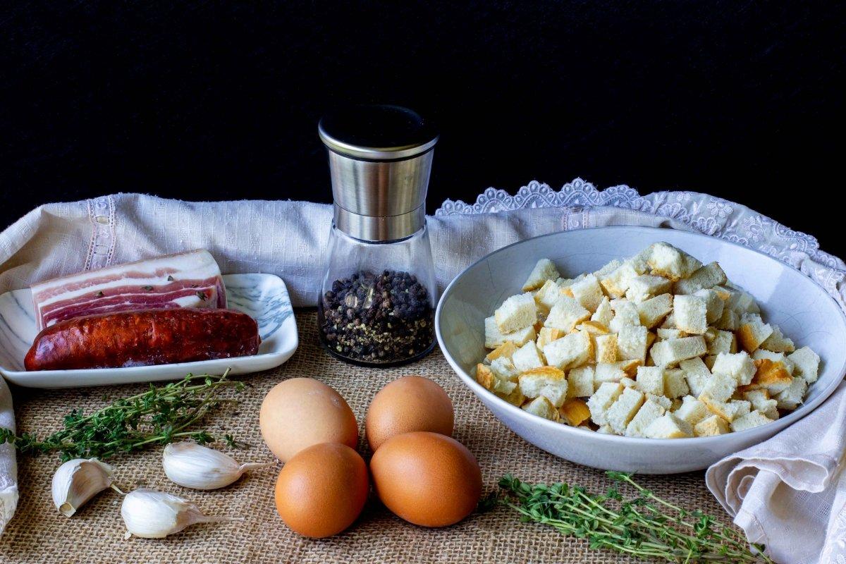Ingredientes para preparar las migas del pastor