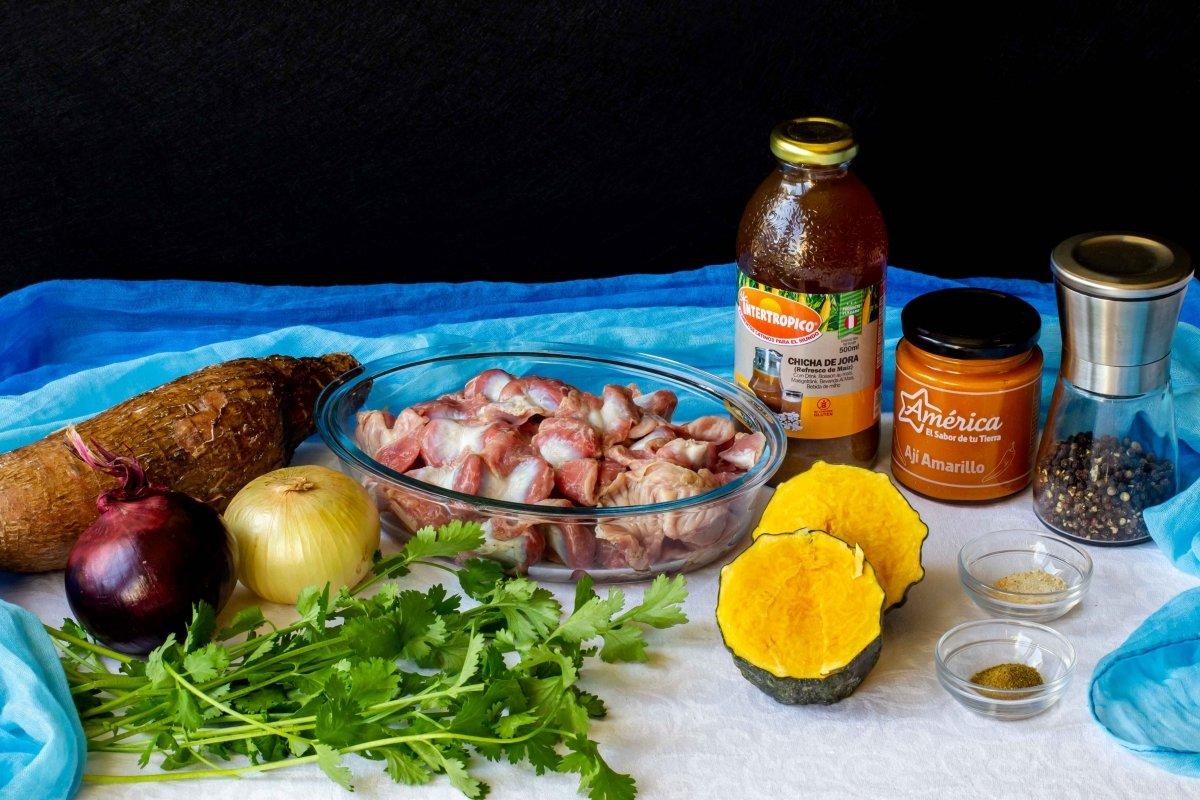 Ingredientes para preparar las mollejas peruanas
