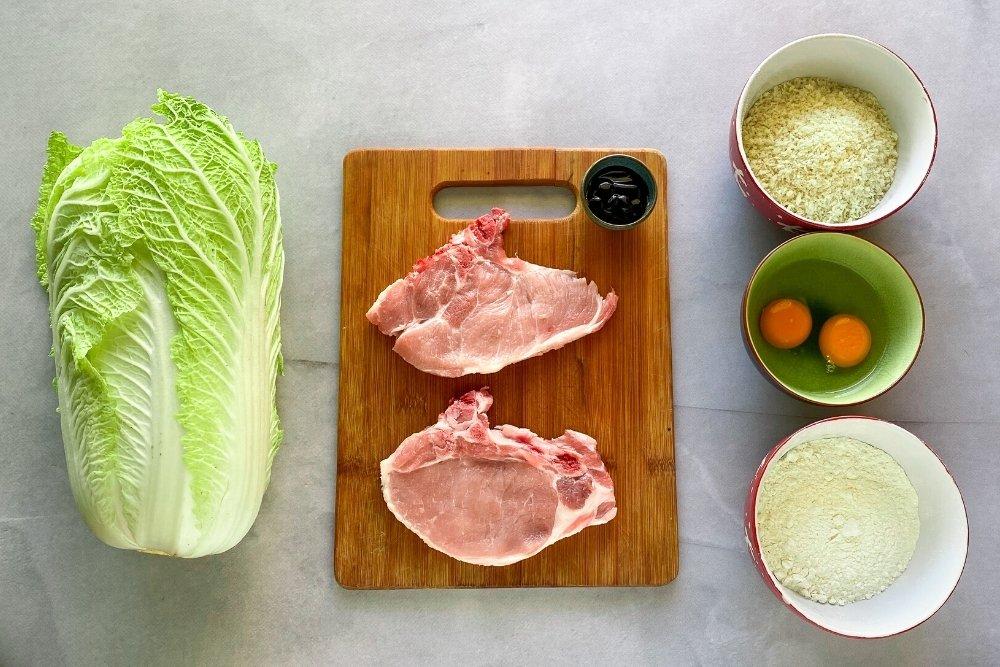 Ingredientes para preparar tonkatsu