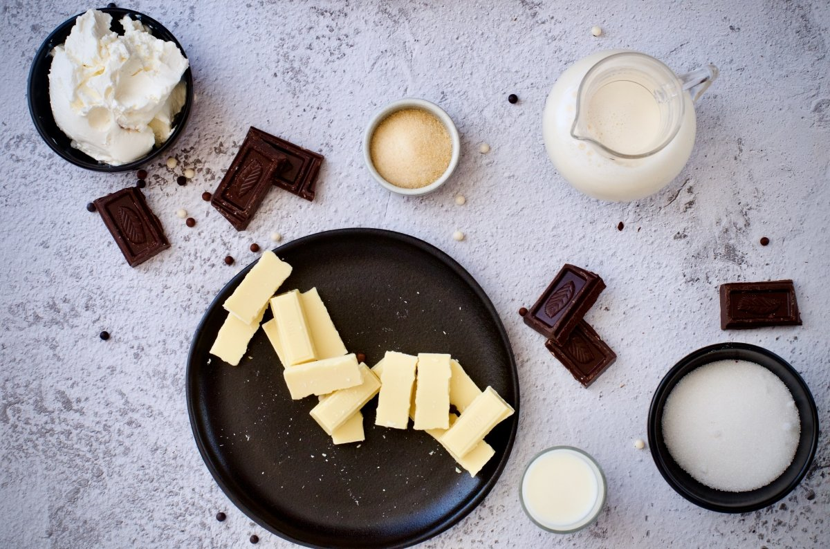 Ingredientes para tarta de chocolate blanco