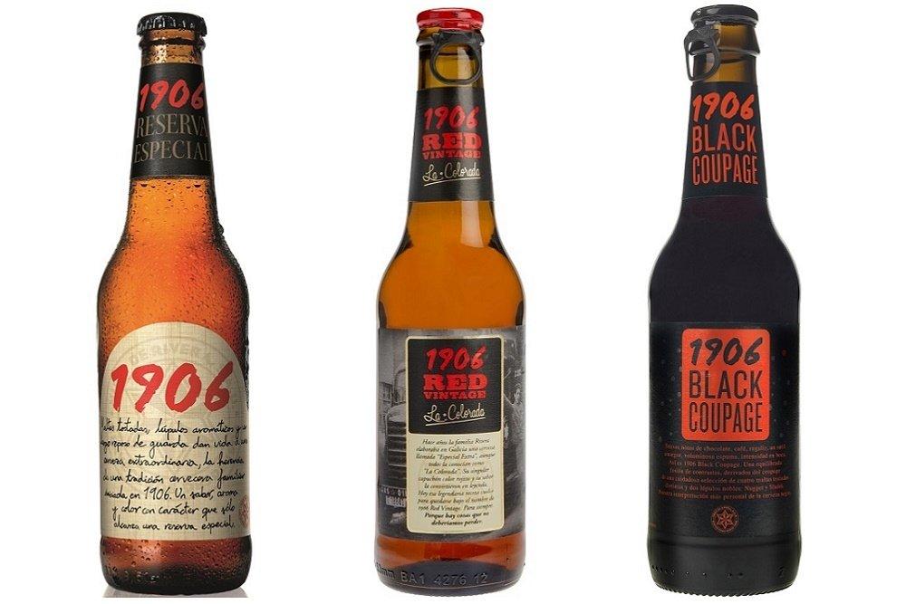 Las 3 cervezas embotelladas que forman parte de la gama 1906