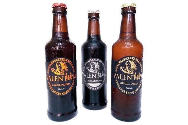 Las tres variedades de cerveza fabricadas por Valentivm