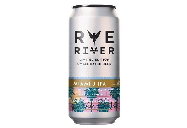 Lata de Rye River Miami J IPA  sobre fondo blanco