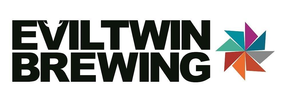 Logotipo de Evil Twin Brewing con los colores de la Hipster Ale