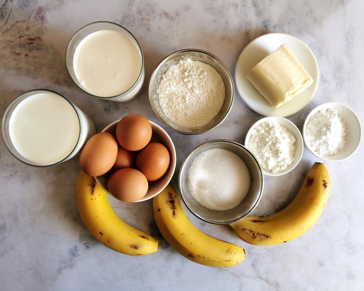 Los ingredientes de la tarta de plátano
