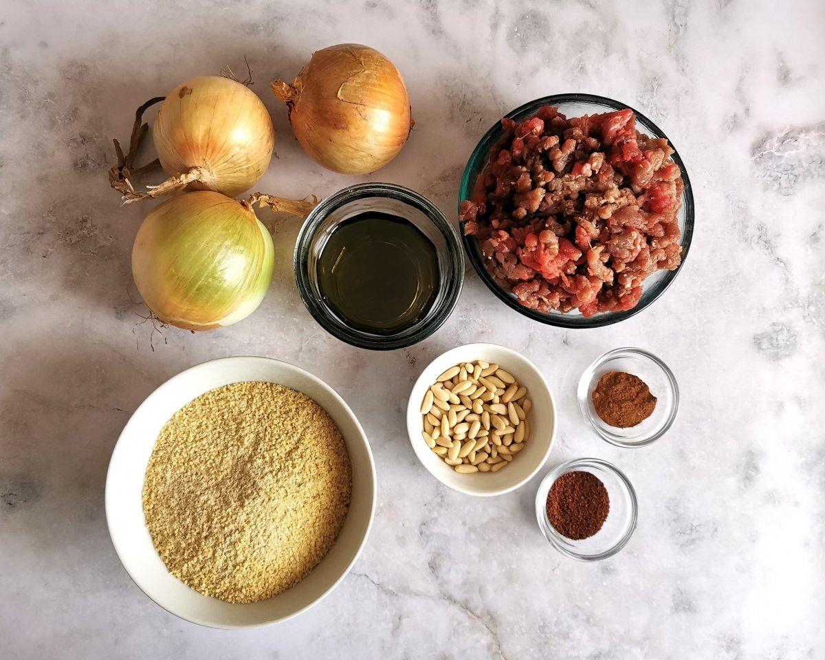Los ingredientes del kibbeh al horno