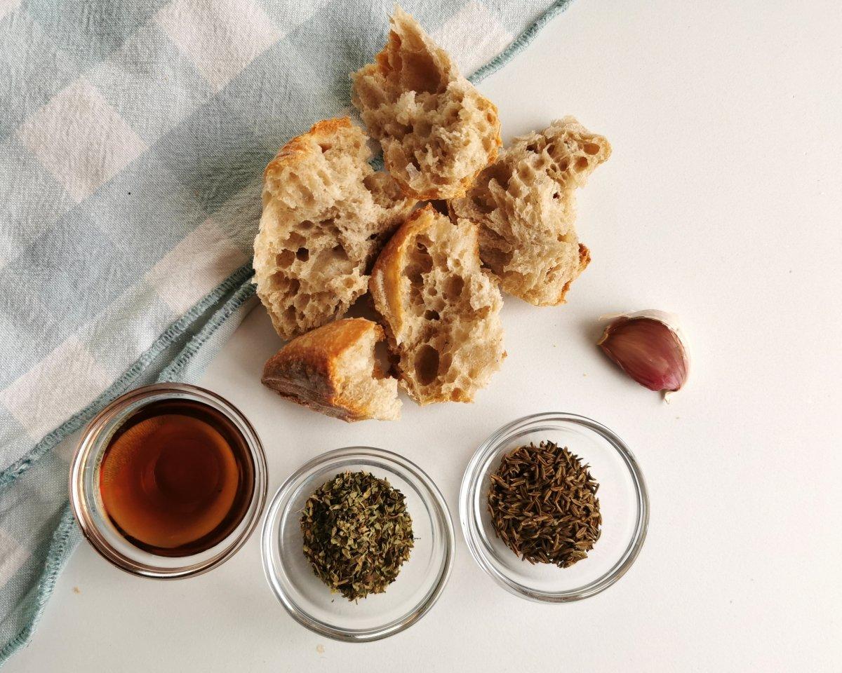 Los ingredientes del majado para las lentejas con calabaza